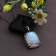 1 Pc Pave Diamond White Rainbow Moonstone Pendant - 925 Sterling Silver - Gemstone Pendant 32mmx23mm PD1612