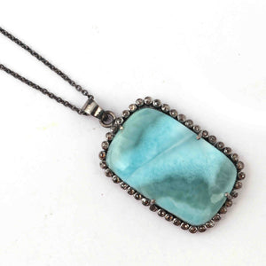 1 Pc Pave Diamond Larimar Designer Rectangle Pendant 925 Sterling Silver - Gemstone Pendant 40mmx25mm PD1824