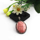 1 Pc Antique Finish Pave Diamond Rhodochrosite Pendant - 925 Sterling Silver - Necklace Pendant 38mmx27mm PD1614