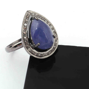 1 PC Beautiful Pave Diamond With Tanzanite Ring - 925 sterling silver - Pear Shape Diamond Ring-Handmade Jewelry -Size: 9 RD473