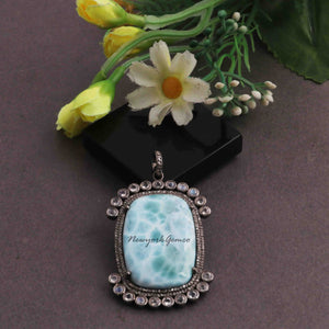 1 Pc Pave Diamond With Moonstone Larimar Rectangle Pendant 925 Sterling Silver - Gemstone Pendant 48mmx27mm PD1613