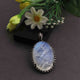 1 Pc Antique Finish Pave Diamond With Rainbow Moonstone Oval Pendant - 925 Sterling Silver - Necklace Pendant 44mmx28mm PD1611