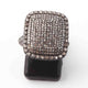 1 PC Beautiful Pave Diamond  Rectangle Ring - 925 Sterling Silver - Diamond Ring Size - 6.5 RD001