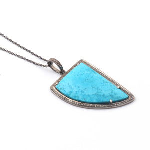 1 Pc Antique Finish Pave Diamond With Turquoise Fancy Shape Pendant - 925 Sterling Silver - Necklace Pendant 43mmx26mm PD1863