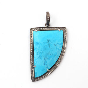 1 Pc Antique Finish Pave Diamond With Turquoise Fancy Shape Pendant - 925 Sterling Silver - Necklace Pendant 42mmx26mm PD1862
