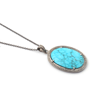 1 Pc Pave Diamond Turquoise Oval Pendant Over 925 Sterling Silver - Turquoise Necklace Pendant 37mmx24mm PD1870