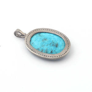 1 Pc Pave Diamond Turquoise Oval Pendant Over 925 Sterling Silver - Turquoise Necklace Pendant 36mmx24mm PD1872