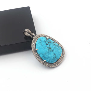 1 Pc Pave Diamond Turquoise Fancy Pendant Over 925 Sterling Silver - Turquoise Necklace Pendant 31mmx23mm PD1873