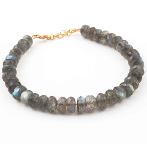 Labradorite Coated Beaded Bracelet - Beads Bracelet -Single Wrap Bracelet- Gemstone Bracelet BB008