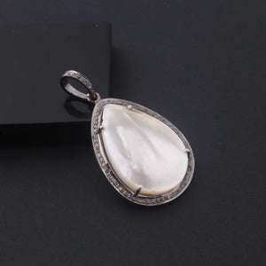 1 PC Pave Diamond With Mother of Pearl Designer Pendant  - 925 Sterling Silver-Gemstone Pendant -Necklace Pendant-37mmx24mm PD1858