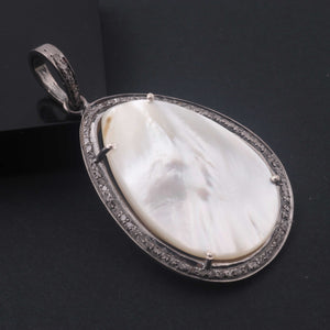 1 PC Pave Diamond With Mother of Pearl Designer Pendant  - 925 Sterling Silver-Gemstone Pendant -Necklace Pendant-38mmx26mm PD1856