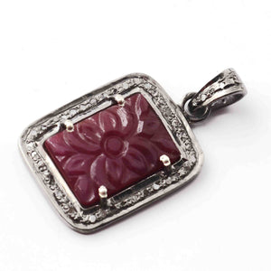 1 Pc Antique Finish Pave Diamond With Carved Ruby Pendant - 925 Sterling Silver - Necklace Pendant 24mmx15mm PD1782