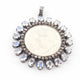 1 Pc Pave Diamond With Moonstone Victoria King Round Pendant - 925 Sterling Silver- Round Coin Pendant 45mmx42mm PD1628