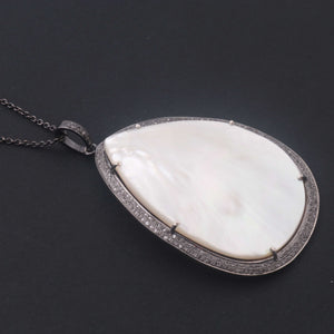 1 PC Pave Diamond With Mother of Pearl Designer Pendant  - 925 Sterling Silver-Gemstone Pendant -Necklace Pendant-57mmx40mm PD1857