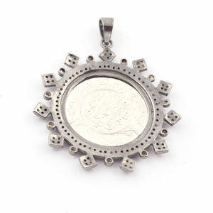 1 Pc Pave Diamond Victoria King Round Pendant - 925 Sterling Silver- Round Coin Pendant 44mmx39mm PD1625