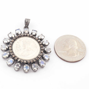 1 Pc Pave Diamond With Moonstone Victoria King Coin Pendant-925 Sterling Silver Round Shape Diamond Pendant 40mmx36mm PD1626