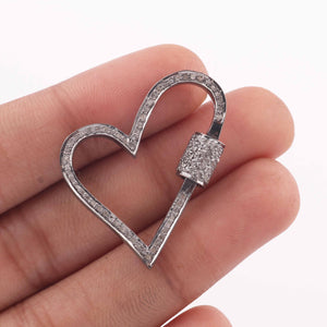 1 Pc Pave Diamond Heart Lock- 925 Sterling Silver- Diamond Heart Lock with Screw On Mechanism 34mmx29mm PD1630