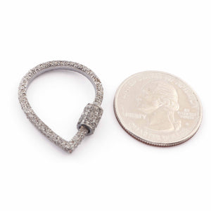 1 Pc Pave Diamond Pear Lock- 925 Sterling Silver- Diamond Pear Drop Lock with Screw On Mechanism 29mmx22mm PD1631