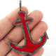 1 Pc Pave Diamond Bakelite Anchor Pendant- 925 Sterling Silver- Vermeil - Enamel Pendant 51mmx42mm PD285