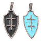 1 Pc Pave Diamond Bakelite Arrowhead Pendant Over 925 Sterling Silver - Enamel Pendant 38mmx18mm PD677