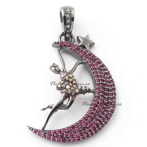 1 Pc Beautiful Pave Diamond Angel,Star with Ruby Moon Pendant 925 Sterling Silver - Designer Pendant 33mmx17mm PD829