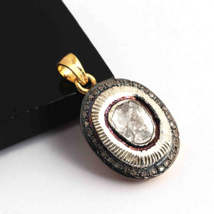 1 Pc Pave Diamond With Rose cut Diamond Oval Pendant - 925 Sterling Vermeil - Polki Pendant 27mmx19mm PD1818
