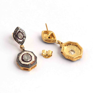 1 Pair Pave Diamond With Rose Cut Diamond Earrings - 925 Sterling Vermeil - Polki Earrings 21mmx14mm-16mmx9mm ED317