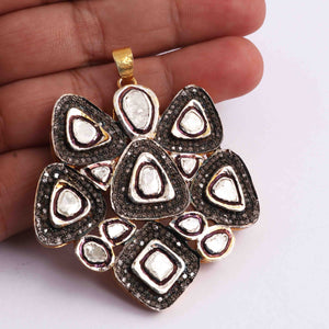 1 Pc Pave Diamond With Rose cut Diamond Designer Pendant - 925 Sterling Vermeil - Polki Pendant 56mmx51mm PD1815