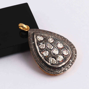 1 Pc Pave Diamond With Rose cut Diamond Pear Pendant - 925 Sterling Vermeil - Polki Pendant 43mmx29mm PD1809