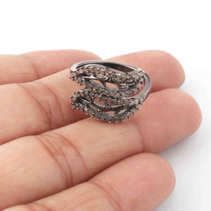 1 PC Antique Finish Pave Diamond Designer Leaf Shape Ring - 925 Sterling Silver - Diamond Ring  GVRD002