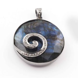 1 Pc Pave Diamond Labradorite With Snail Pendant Over 925 Sterling Silver - Round Shape Pendant 26mmx27mm PD1648