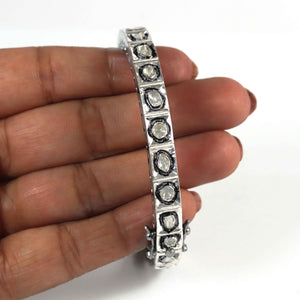 1 Pc Excellent Designer Rose Cut Diamonds Bangle - 925 Sterling Silver- Polki Bangle Size: 2.5 BD250