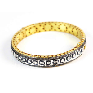 1 Pc Pave Diamond Excellent Designer Rosecut Diamonds Bangle - 925 Sterling Vermeil - Polki Bangle Size: 2.75 inches BD014