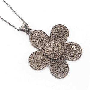1 Pc Pave Diamond Beautiful Flower Pendant - 925 Sterling Silver - Flower Charm Pendant 40mmX42mm GVPD027