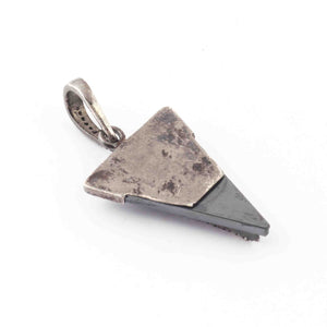 1 Pc Pave Diamond Black Pyrite With Arrow Pendant Over 925 Sterling Silver - Trillion Shape Pendant 29mmx19mm GVPD016