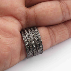 1 Pc Pave Diamond Round Band Ring- 925 Sterling Silver - Antique Jewelry, Women Ring GVRD023