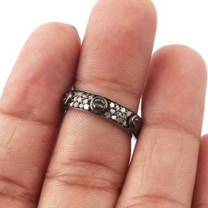 1 Pc Pave Diamond Round Band Ring- 925 Sterling Silver, - Antique Jewelry, Women Ring GVRD025
