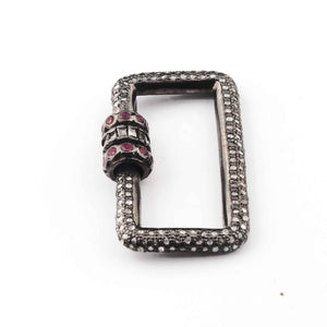 1 Pc Pave Diamond With Baguette Diamond & Ruby Rectangle Shape Carabiner- 925 Sterling Silver- Diamond Lock with Screw On Mechanism 30mmx19mm CB050