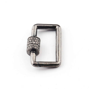 1 Pc Pave Diamond Rectangle Shape Carabiner- 925 Sterling Silver- Diamond Lock with Screw On Mechanism 21mmx14mm CB040
