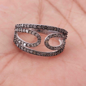 1 PC Antique Finish Pave Diamond Designer Ring - 925 Sterling Silver - Diamond Ring  GVRD007