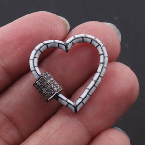 1 Pc Pave Diamond Heart White Enemel Carabiner- 925 Sterling Silver- Diamond Lock with Screw On Mechanism 21mm CB021