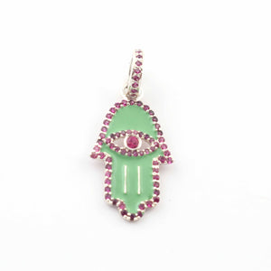 1 Pc Pave CZ Enamel Ruby Hamsa with Evil Eye Pendant , Sapphire Enamel Hamsa Pendant , Oil Drop Jewelry 24mmx11mm CZ002