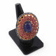 1 PC Pave Diamond , Kyanite ,Ruby With Center in Tanzanite Diamond  Ring - 925 Sterling Silver -Oval Shape Ring , Ring Size: 8 SJRD027