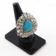 1 PC Pave Diamond Turquoise Gemstone With Ethiopian Opal  Ring - 925 Sterling Silver -Triangle Shape Ring-Ring  Size: 7 SJRD001