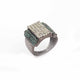 1 PC Pave Diamond With Emerald Designer Ring - 925 Sterling Silver- Diamond Ring - Ring Size: 8.5 SJRD032