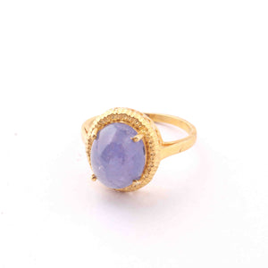 1 PC Antique Finish Pave Tanzanite Ring - Yellow Gold Vermeil- ,Ring Size-7.5 Rd437