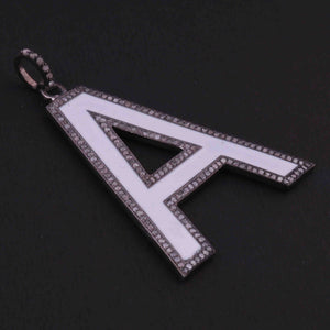 "1 PC Pave Diamond Letter ""A"" Round Shape Bakelite Pendant Over 925 Sterling Silver - 44mmx24mm RRPD039"