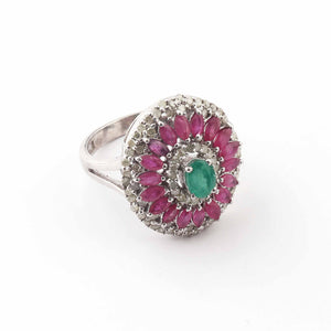 1 PC Pave Diamond, Ruby With Emerald Ring - 925 Sterling Silver- Diamond Ring--Size: 8 SJRD024