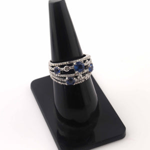 1 PC Beautiful Pave Diamond With Kyanite  Ring - 925 Sterling Silver - Designer Ring- Ring Size :7.5 SJRD009