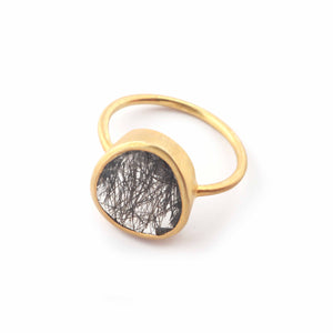 1 PC Antique Finish Pave Black Rutile Ring - Yellow Gold Vermeil- , Ring Size-7 Rd436